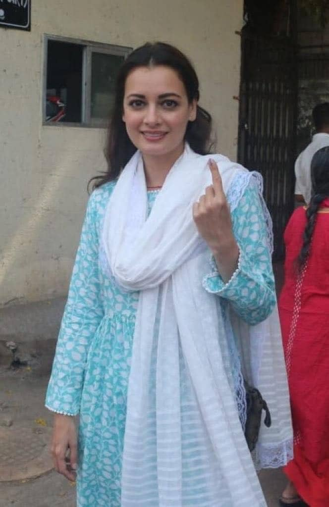 Actress Dia Mirza voted on Monday in Mumbai. More than 127 million people are eligible to vote in this round of the seven-phase election held across 71 seats in nine states. (Image: CNN-News18)