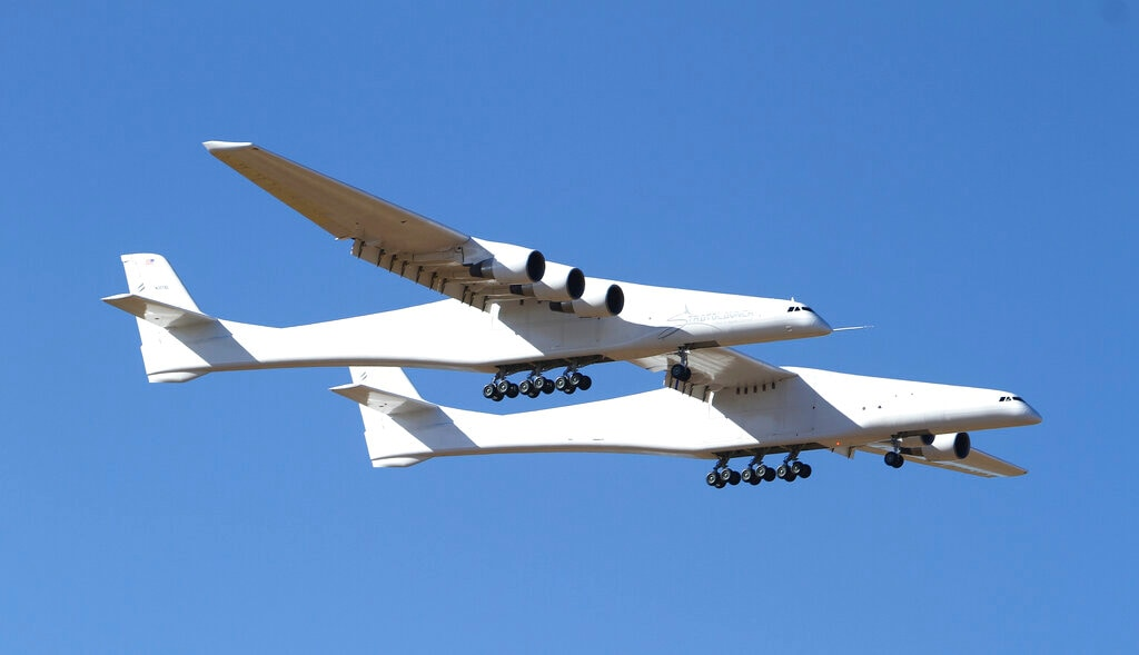 Regarding initial results from Saturday's test flight, Stratolaunch said the test team performed a variety of flight control maneuvers to calibrate speed and test flight control systems, including roll doublets, yawing maneuvers, pushovers and pull-ups, and steady heading side slips. (AP Photo/Matt Hartman)