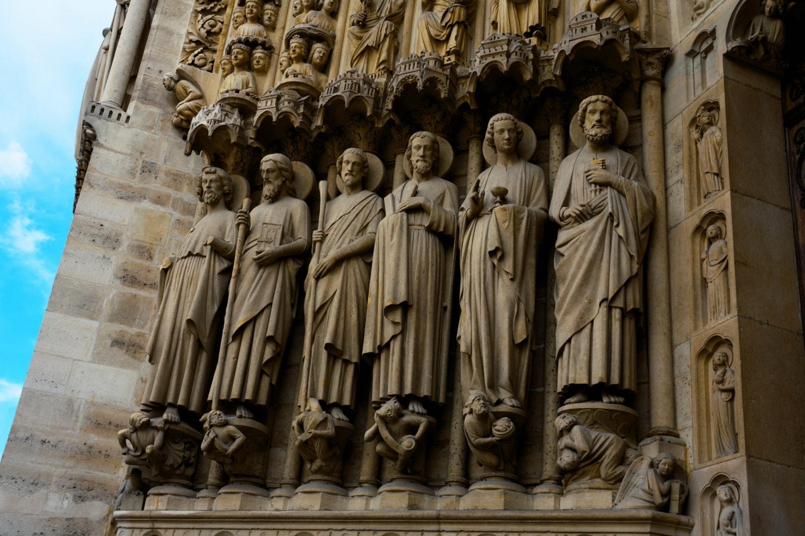 Saints in Portal, Notre-Dame Cathedral, Paris.