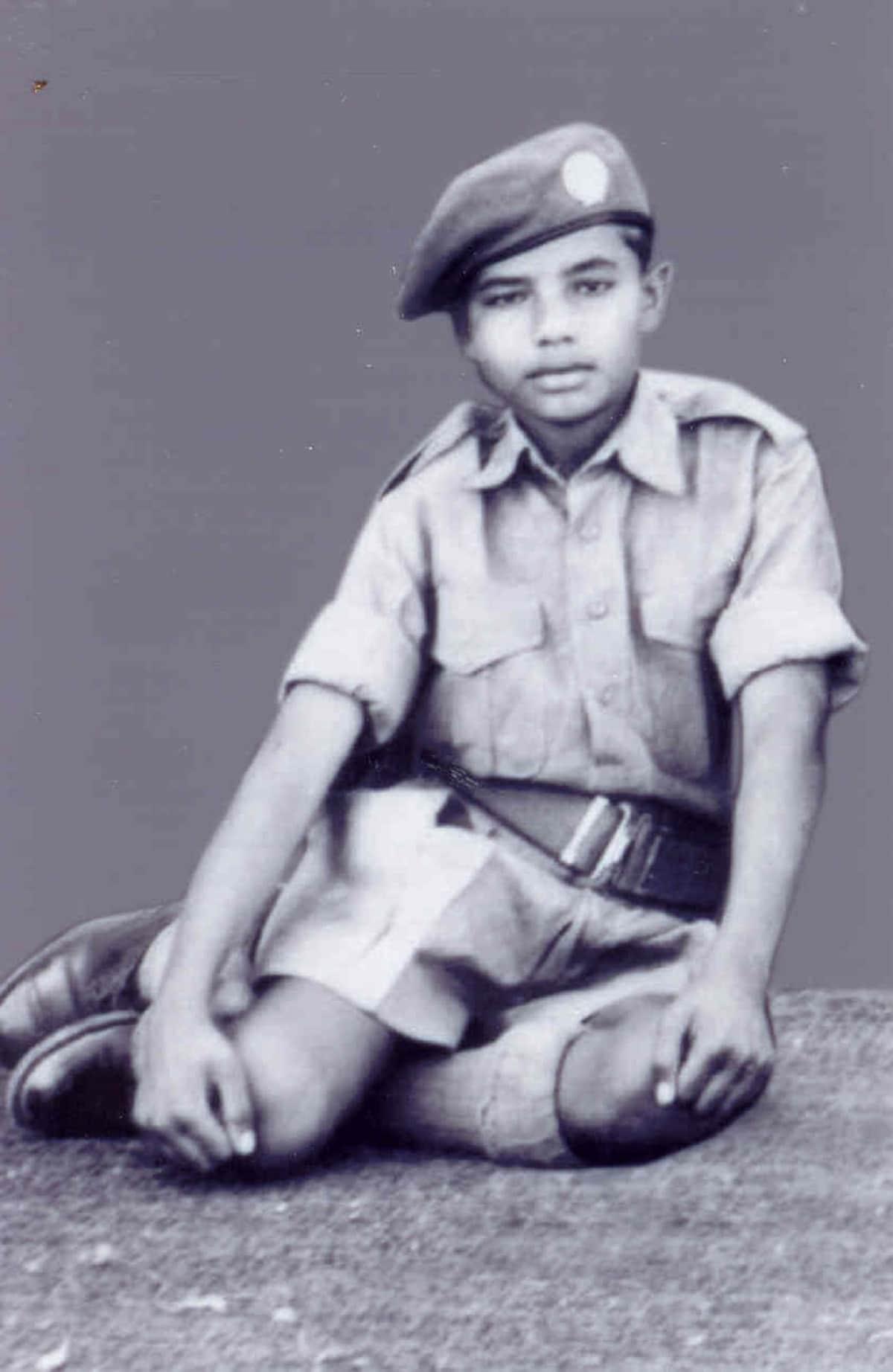 A childhood picture of PM Narendra Modi in his NCC uniform. Born to a Gujarati family inVadnagar, Modi helped his father sell tea.