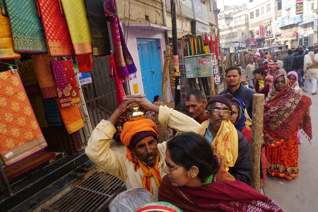 Pilgrims wait for their turn outside Kashi Vishwanath Temple, Varanasi in Uttar Pradesh.
