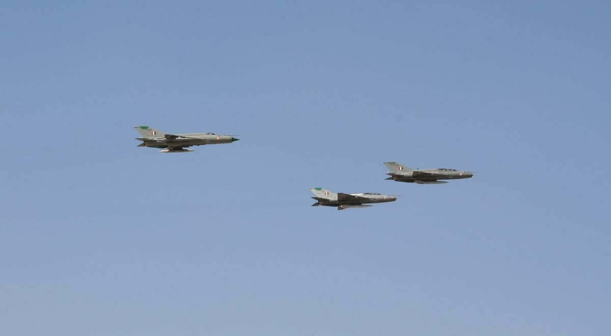 The MiG-21 'Missing Man' formation flypast led by Chief of the Air Staff, Air Chief Marshal BS Dhanoa, to honour the valour and supreme sacrifice of men killed in action during Operation Safed Sagar at Kargil. (Photo: DPRO/IANS)