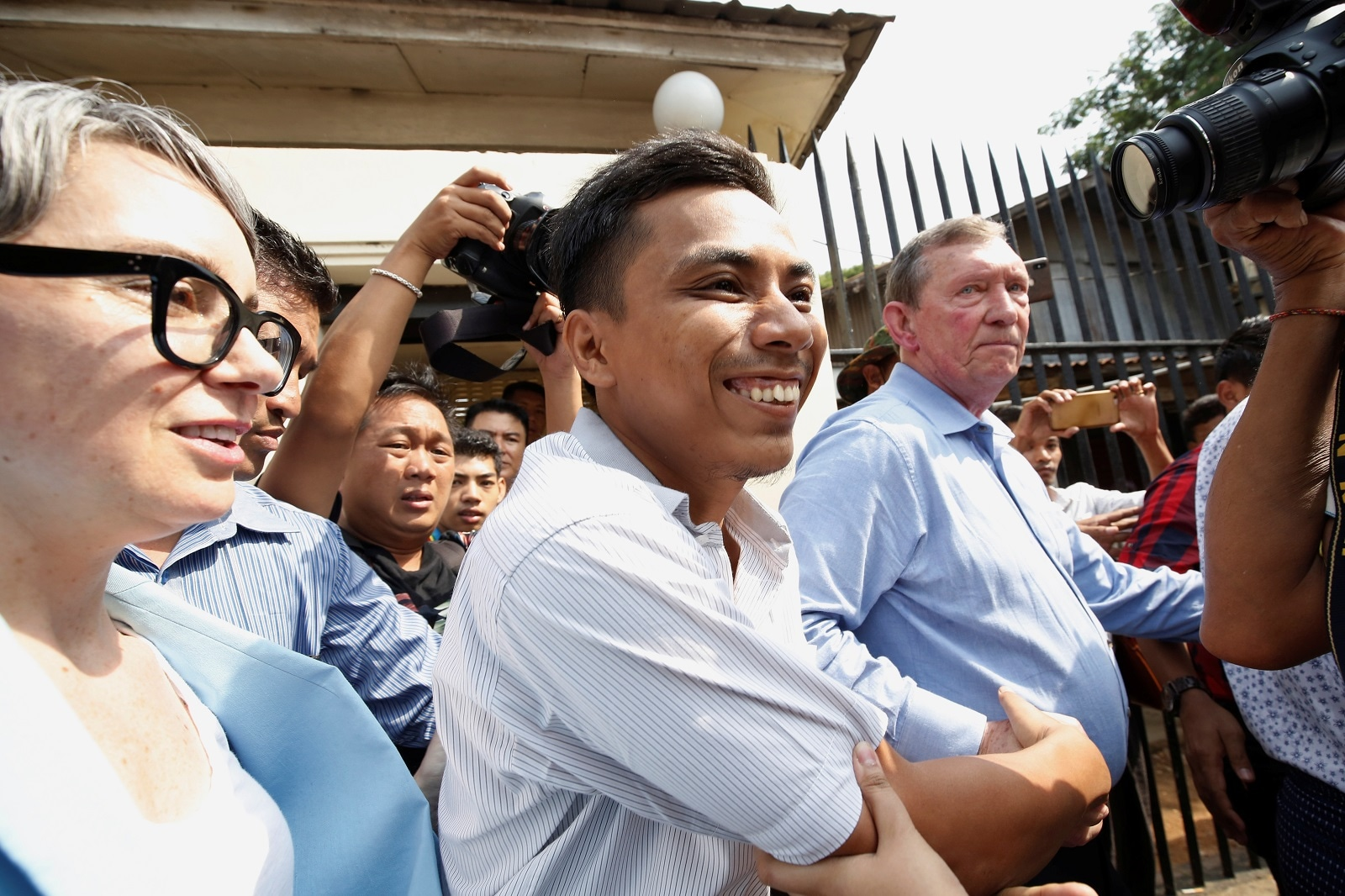 Reuters reporter Kyaw Soe Oo reacts after being freed from Insein prison after receiving a presidential pardon in Yangon, Myanmar, May 7, 2019. REUTERS/Ann Wang