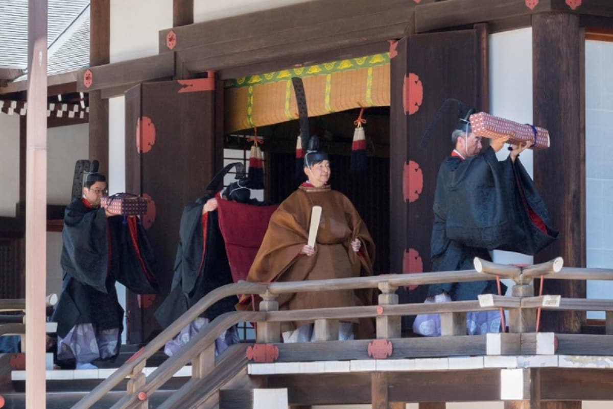 Japan's new Emperor Naruhito and Empress Masako donned traditional robes on Wednesday for rituals in which he reported to Shinto gods the date of two important ceremonies later this year, including his enthronement. (Imperial Household Agency of Japan/Handout via Reuters)