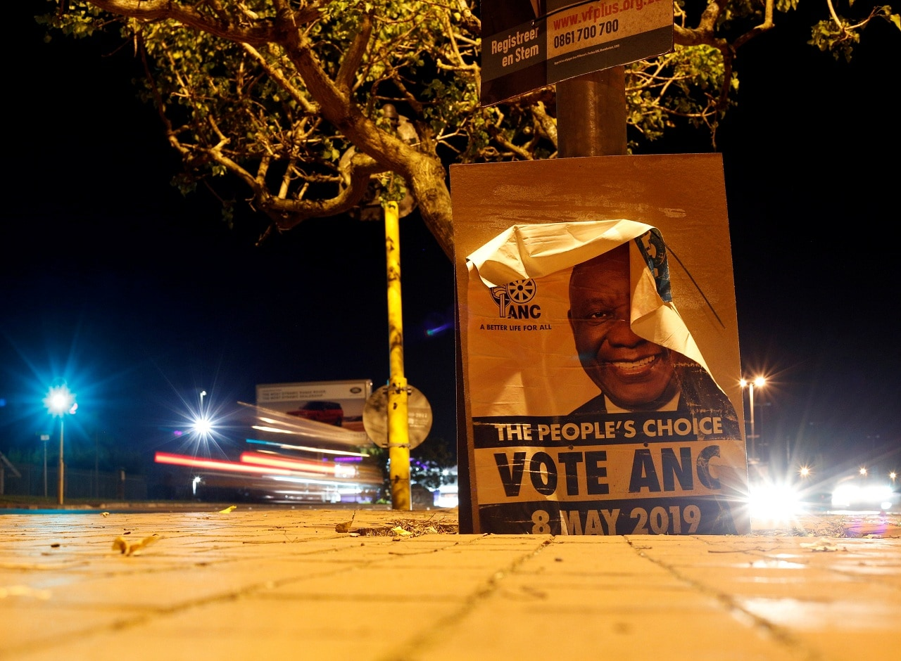 An African National Congress election poster is seen in Hillcrest near Durban, South Africa, May 9, 2019. (Reuters)
