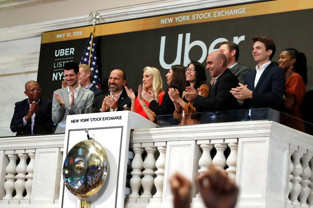 Uber Technologies Inc. CEO Dara Khosrowshah during the opening bell of the trading session on the New York Stock Exchange (NYSE) during the company's IPO in New York, US, May 10, 2019. REUTERS/Andrew Kelly