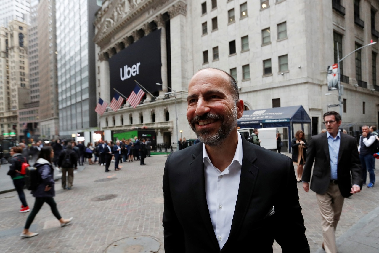 Uber Technologies Inc. CEO Dara Khosrowshahi stands outside the New York Stock Exchange (NYSE) ahead of the company's IPO in New York, US, May 10, 2019. REUTERS/Andrew Kelly