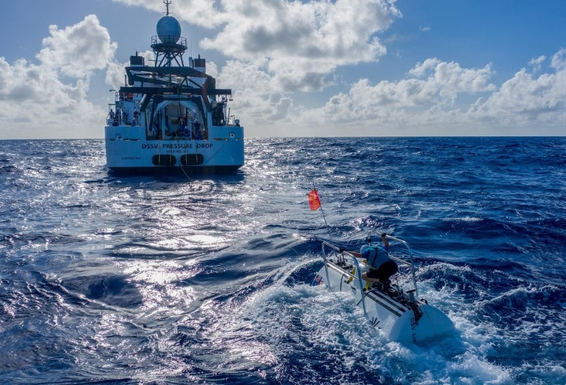 The submarine DSV Limiting Factor floats near the research vessel DSSV Pressure Drop above the Pacific Ocean's Mariana Trench in an undated photo released by the Discovery Channel May 13, 2019. Atlantic Productions for Discovery Channel/Tamara Stubbs/Handout via REUTERS.