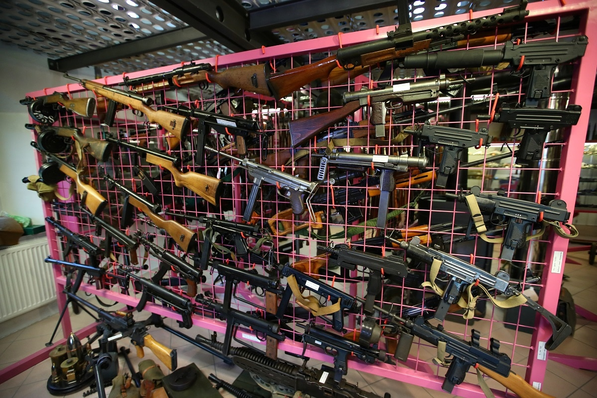Huzi guns and other weapons are pictured in Arsene Plomb's collection in Boncourt, Switzerland. REUTERS/Denis Balibouse