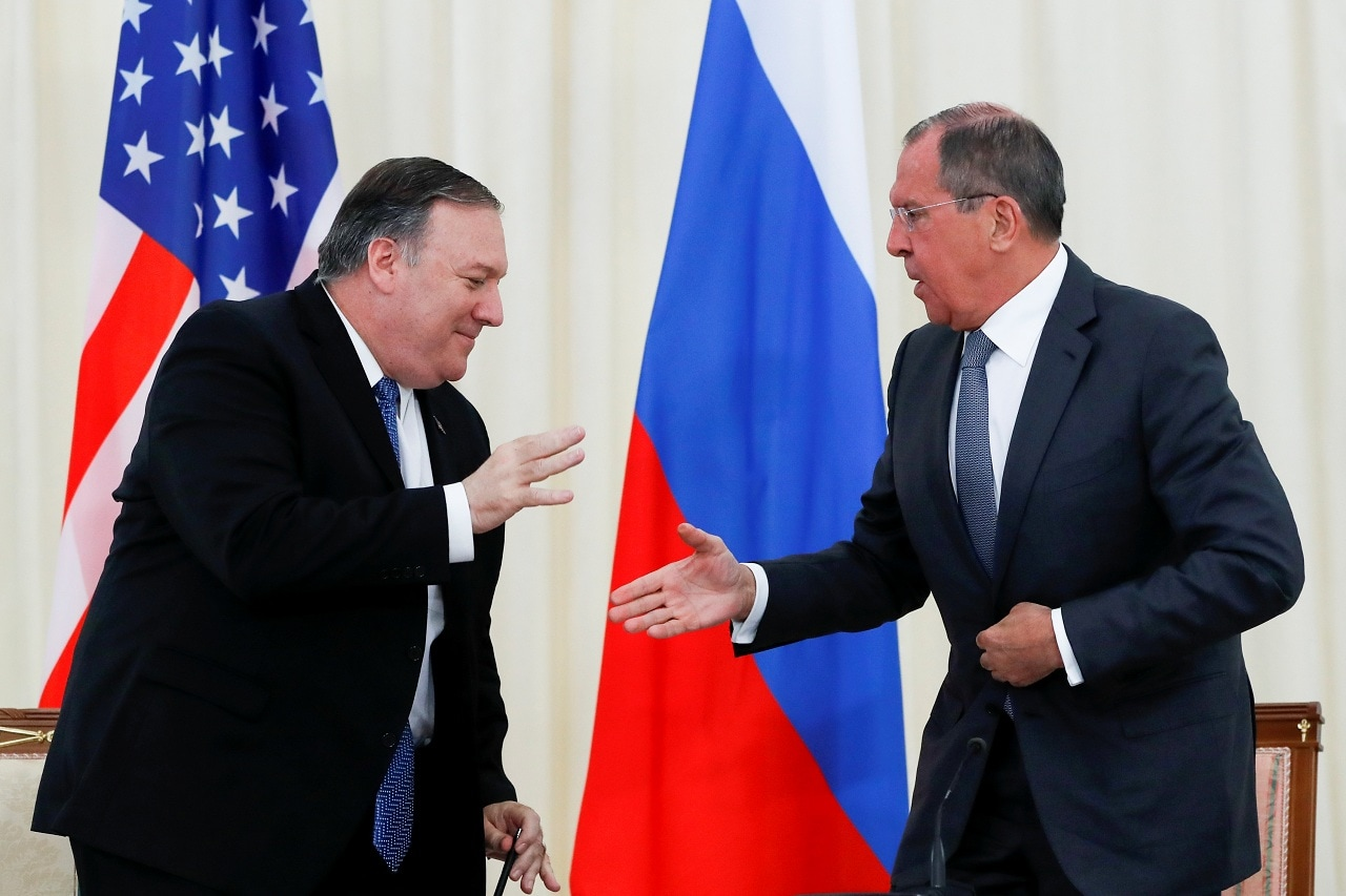 U.S. Secretary of State Mike Pompeo and Russian Foreign Minister Sergey Lavrov shake hands after their joint news conference following the talks in the Black Sea resort city of Sochi, Russia May 14, 2019. Pavel Golovkin/Pool via REUTERS