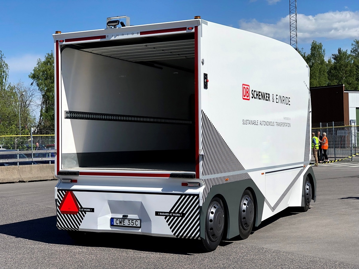 The driverless electric truck began daily freight deliveries on a public road in Sweden on Wednesday, in what developer Einride and logistics customer DB Schenker described as a world first. REUTERS/Ilze Filks