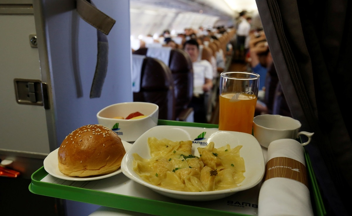 A set of lunch for business class of Bamboo Airways is seen onboard during its flight from Ho Chi Minh City to Hanoi. REUTERS/Kham/Files
