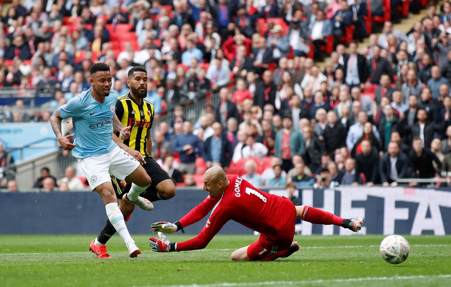 Soccer Football - FA Cup Final - Manchester City v Watford - Wembley Stadium, London, Britain - May 18, 2019 Manchester City's Gabriel Jesus scores their fourth goal REUTERS/David Klein