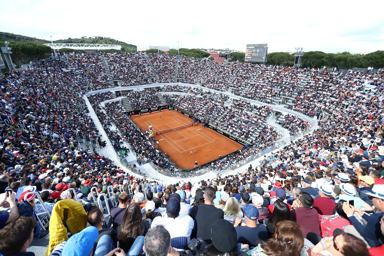Tennis - ATP 1000 - Italian Open - Foro Italico, Rome, Italy - May 19, 2019 General view during the final between Serbia's Novak Djokovic and Spain's Rafael Nadal REUTERS/Matteo Ciambelli
