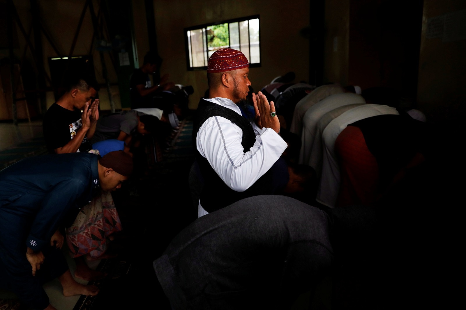 Mohammad Ali Acampong, 42, prays inside a mosque at Mipaga, Marawi City, Lanao del Sur province, Philippines, May 12, 2019. REUTERS/Eloisa Lopez