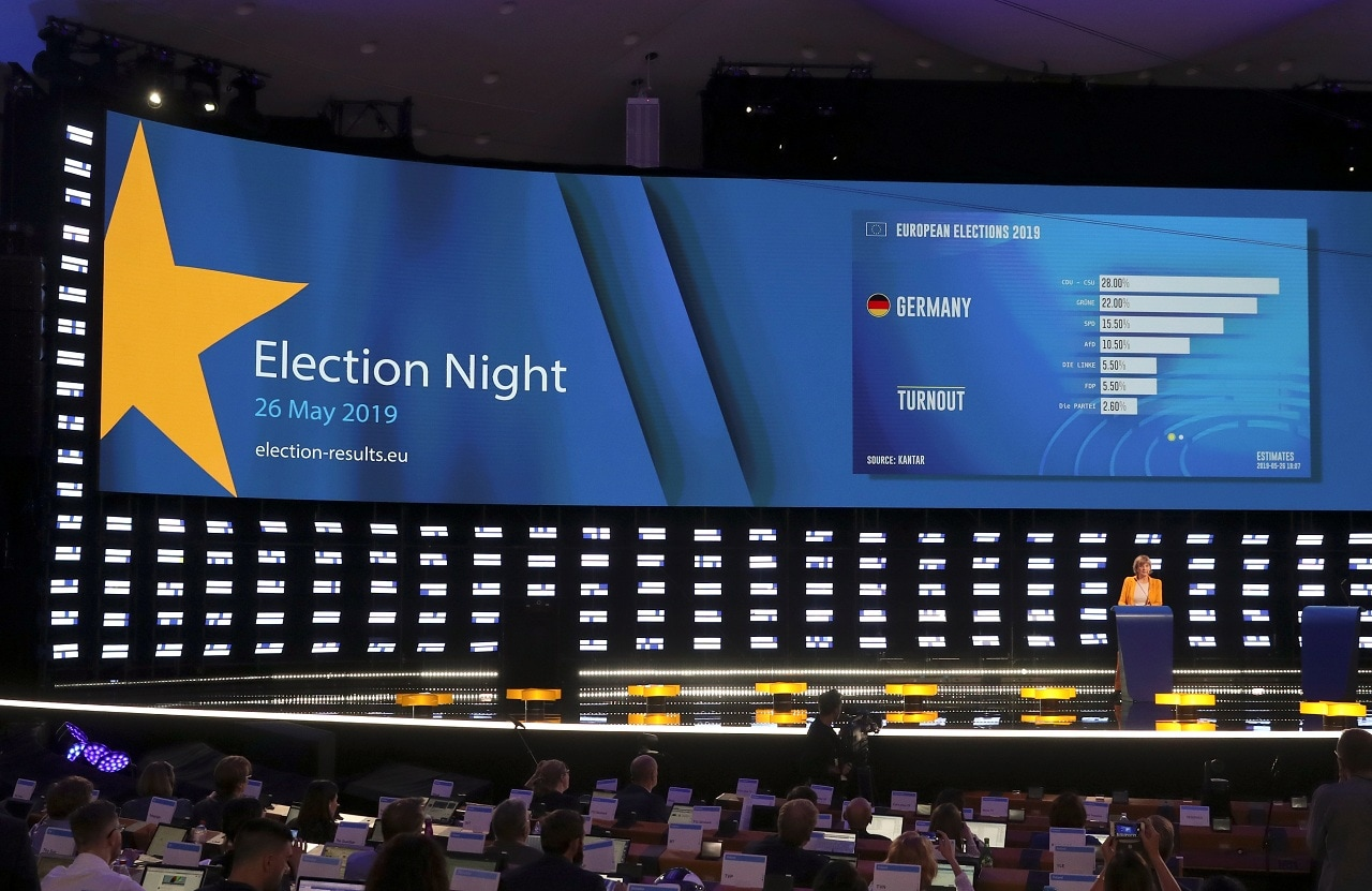 Exit poll results for Germany are displayed on a screen at the Plenary Hall during the election night for European elections at the European Parliament, in Brussels, Belgium, May 26, 2019. REUTERS/Yves Herman