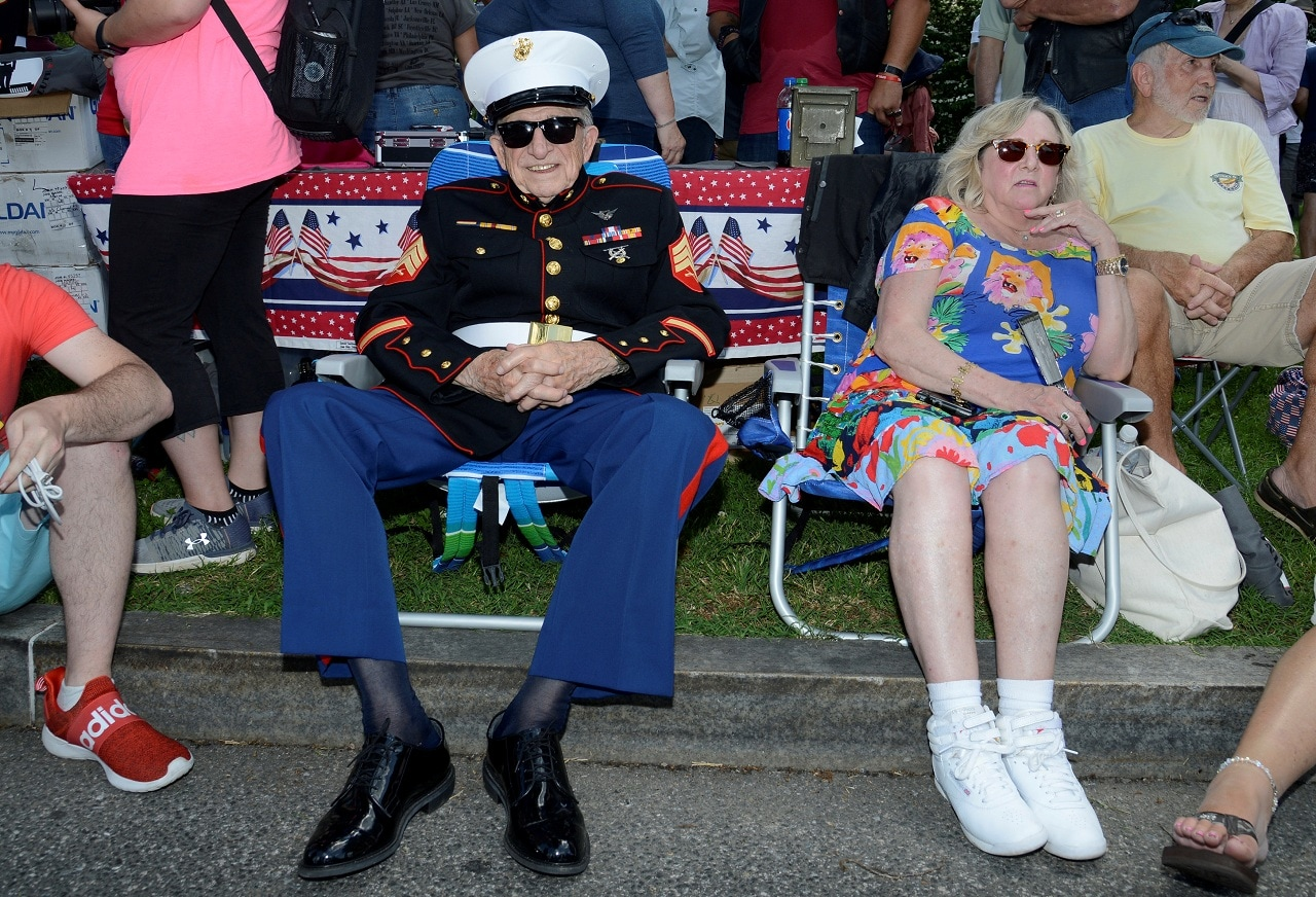 World War II veteran and USMC Sgt Bruce Heilman (ret.), 93, of Richmond, Virginia, awaits the start of the 32nd Annual, and possibly final, Rolling Thunder