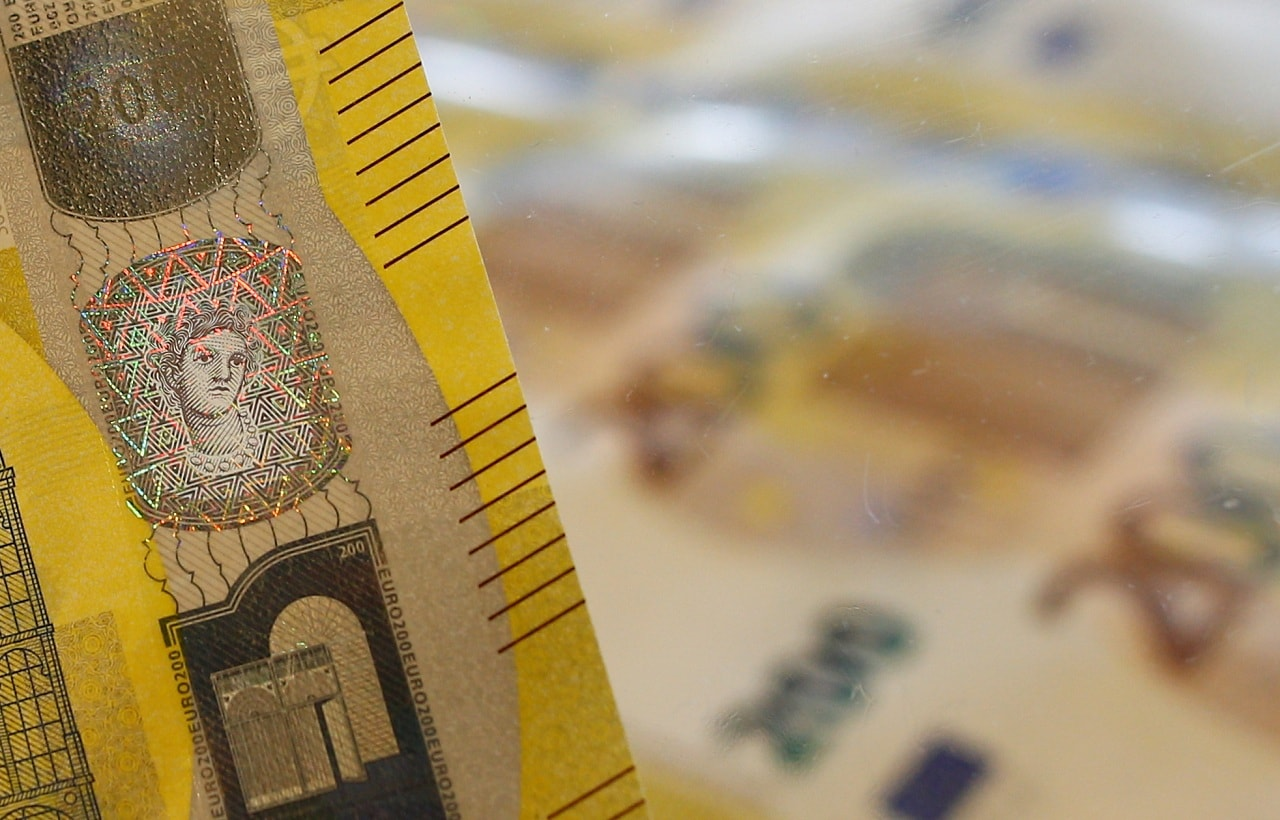 A detail of the silvery stripe on the new 200 euro banknote is seen in the secretive vaults inside the Bank of Italy, in Rome May 21, 2019. Picture taken May 21, 2019 REUTERS/Yara Nardi