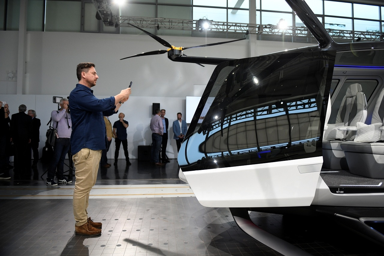 Alaka'i Technologies unveils a model of a working prototype of Skai, a hydrogen fuel cell powered multi-rotor aircraft the company designed to carry up to five passengers, during an event in Newbury Park, California, US, May 29, 2019. REUTERS/Andrew Cullen