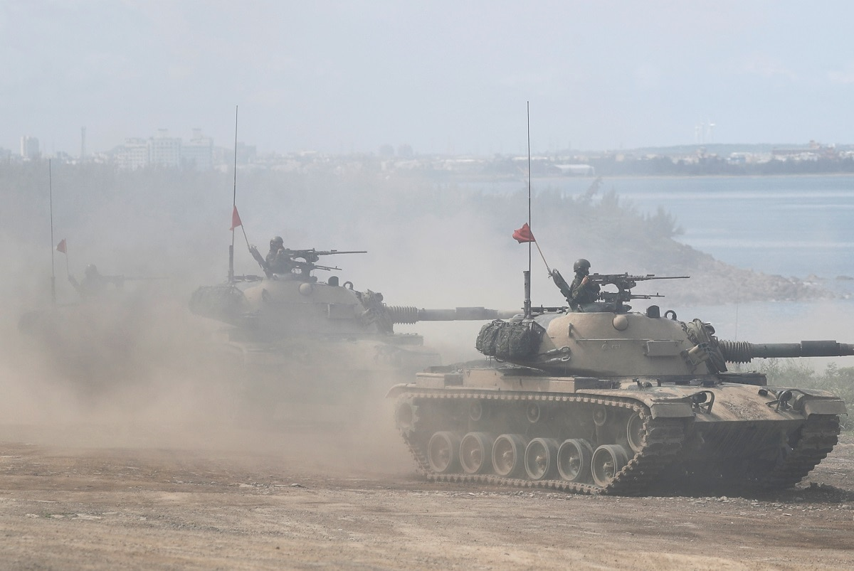CM-11 Brave Tiger tanks take part in the live fire Han Kuang military exercise. REUTERS/Tyrone Siu