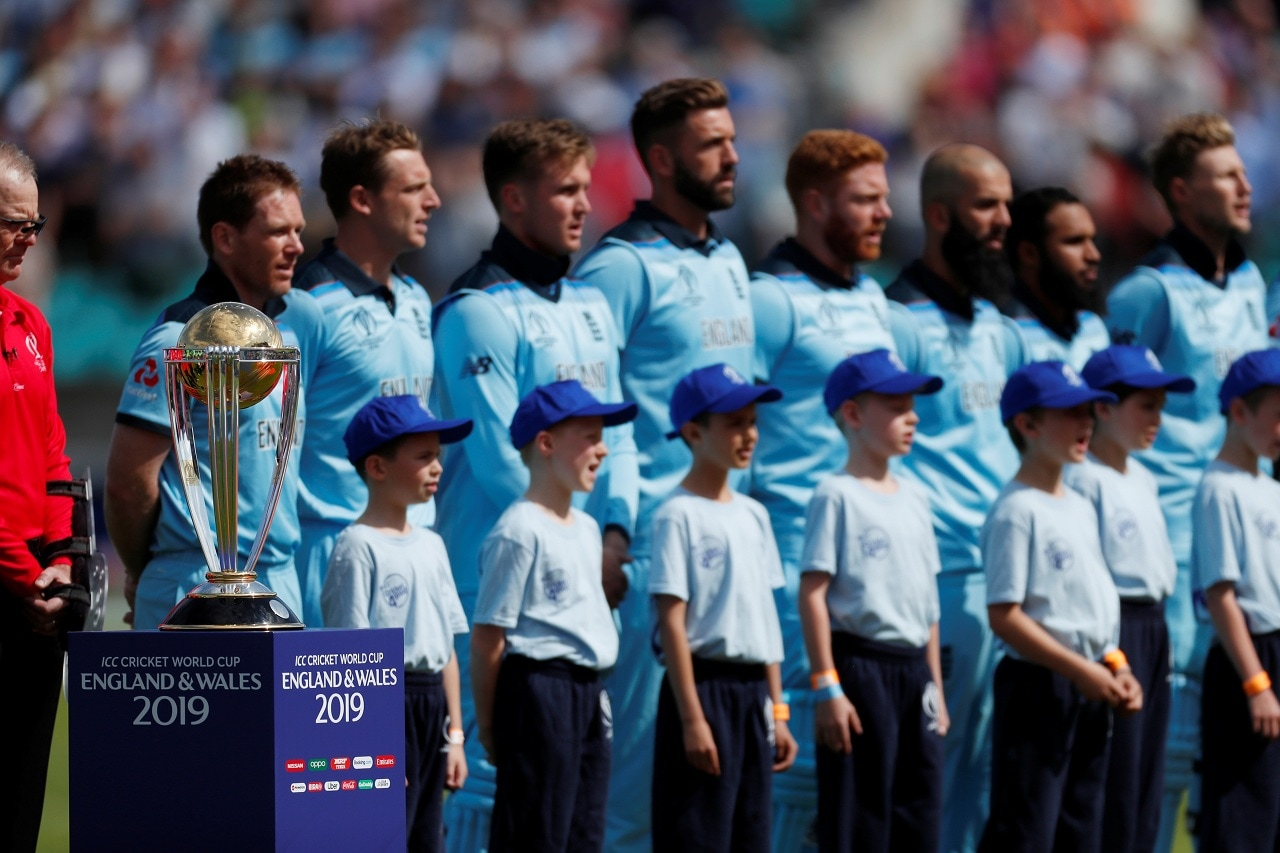 Cricket - ICC Cricket World Cup - England v South Africa - Kia Oval, London, Britain - May 30, 2019 England players line up next to the trophy before the match Action Images via Reuters/Paul Childs