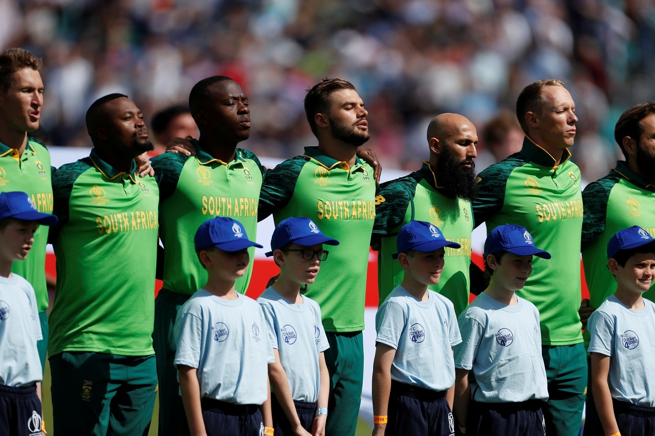 Cricket - ICC Cricket World Cup - England v South Africa - Kia Oval, London, Britain - May 30, 2019 South Africa players line up before the match Action Images via Reuters/Paul Childs