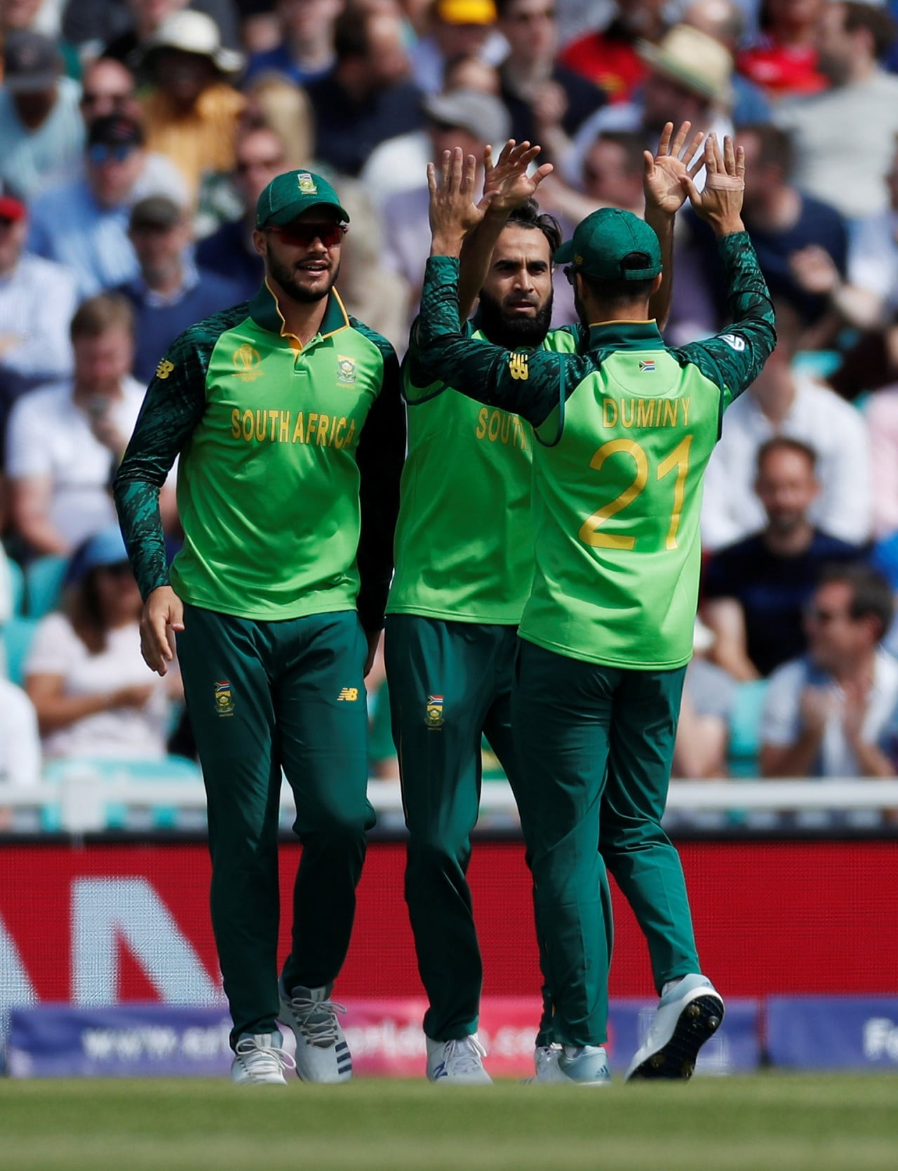 Cricket - ICC Cricket World Cup - England v South Africa - Kia Oval, London, Britain - May 30, 2019 South Africa's Imran Tahir celebrates with team mates after taking the wicket of England's Jonny Bairstow Action Images via Reuters/Paul Childs