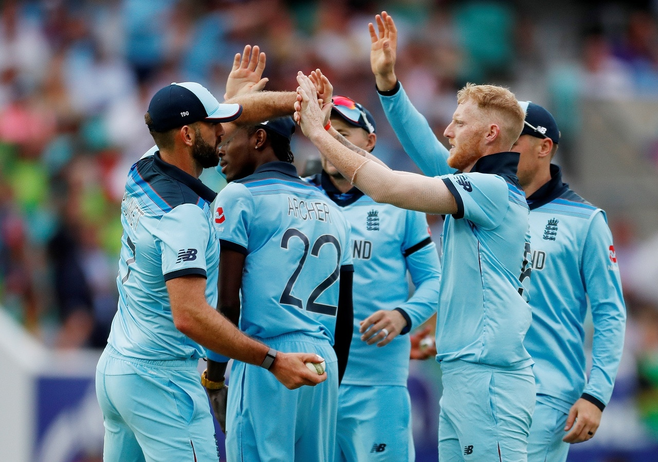 Cricket - ICC Cricket World Cup - England v South Africa - Kia Oval, London, Britain - May 30, 2019 England's Ben Stokes celebrates the wicket of South Africa's Kagiso Rabada with team mates Action Images via Reuters/Paul Childs