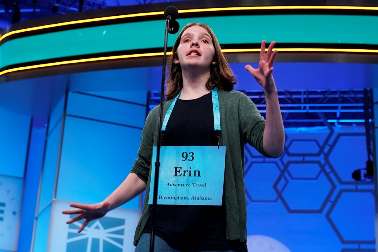 Erin Howard, 14, of Huntsville, Alabama, one of eight co-champions, reacts to her final word in the final round of the 92nd annual Scripps National Spelling Bee at National Harbor in Oxon Hill, Maryland, US, May 30, 2019. REUTERS/Joshua Roberts
