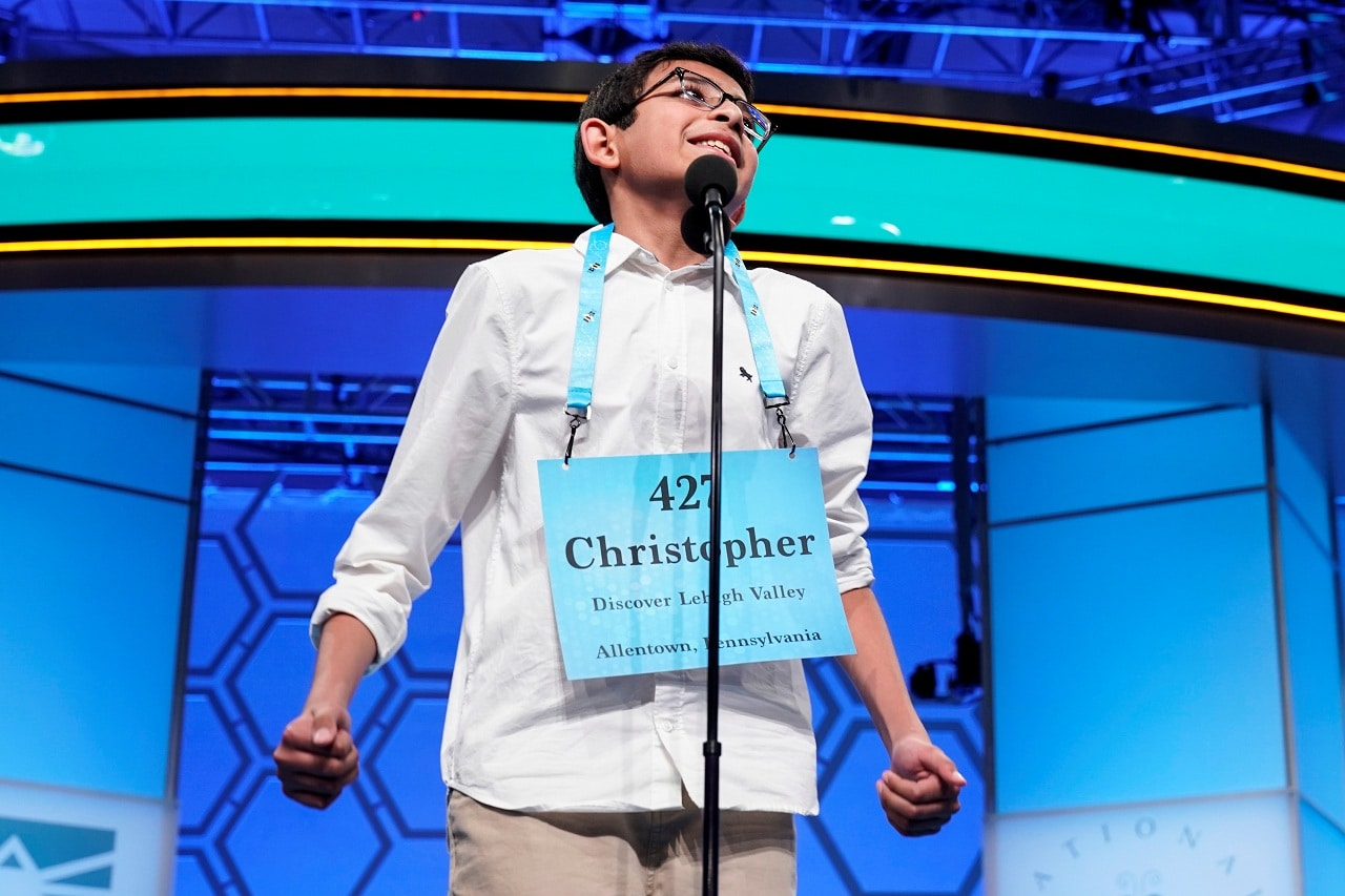 Christopher Serrao, 13, of Whitehouse Station, New Jersey, one of eight co-champions, reacts to spelling his final word in the final round of the 92nd annual Scripps National Spelling Bee at National Harbor in Oxon Hill, Maryland, US, May 31, 2019. REUTERS/Joshua Roberts
