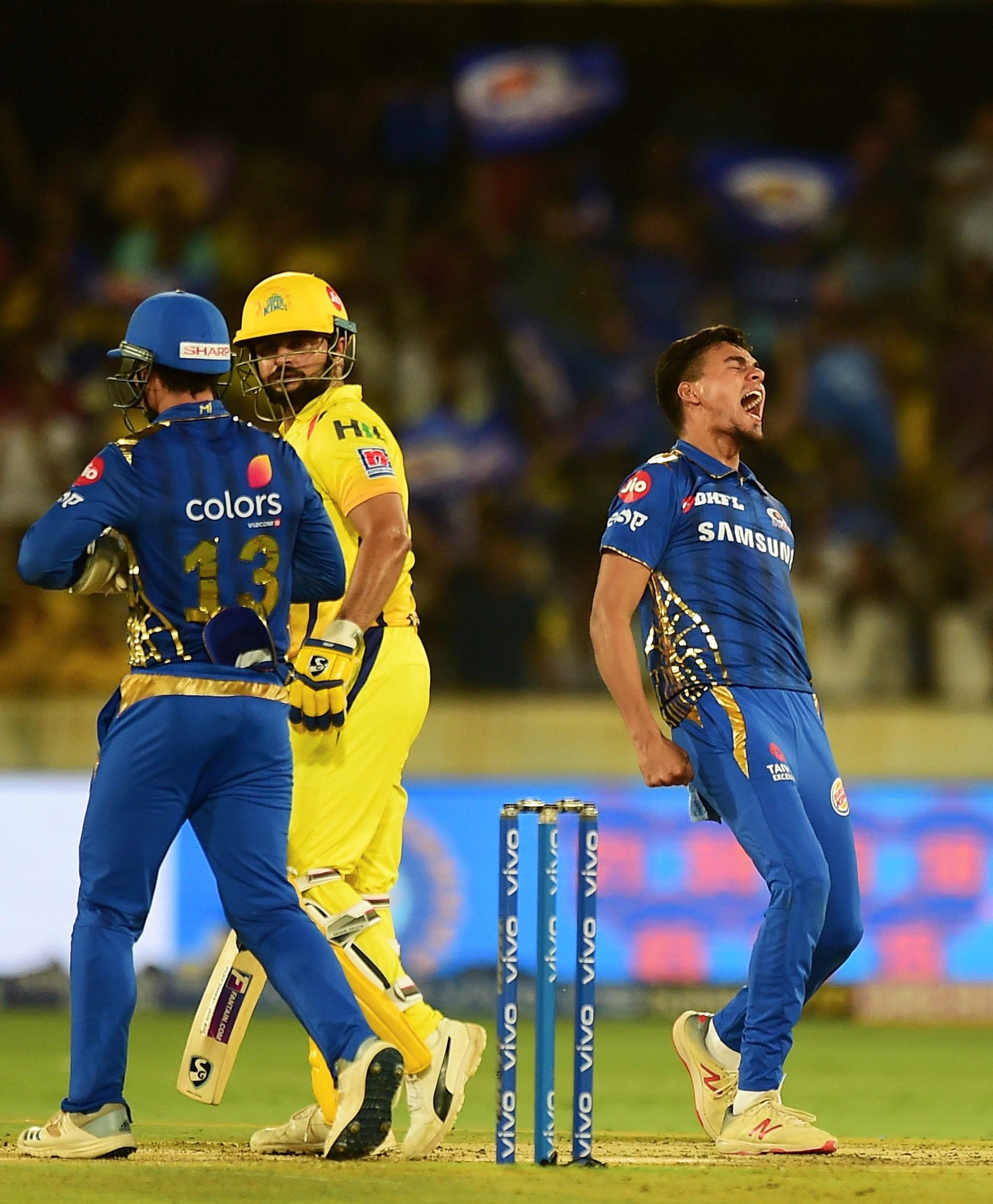 MI bowler Rahul Chahar celebrates the wicket of Chennai Super Kings (CSK) player Suresh Raina | PTI