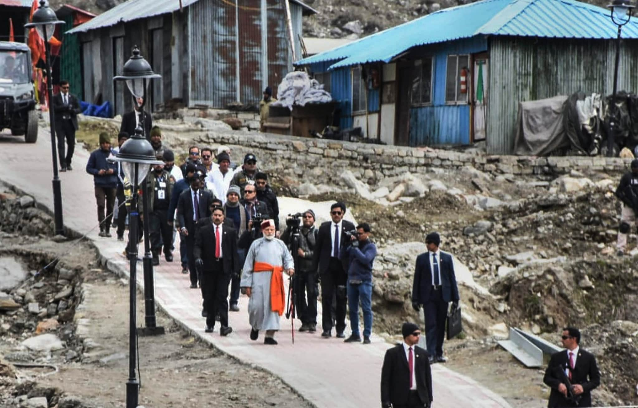 Kedarnath: Prime Minister Narendra Modi arrives at Kedarnath, for this two day pilgrimage to Himalayan shrines, in Rudraprayag district, Saturday, May 18, 2019. PM Modi will visit Badrinath on Sunday. (PTI Photo)(PTI5_18_2019_000062B)