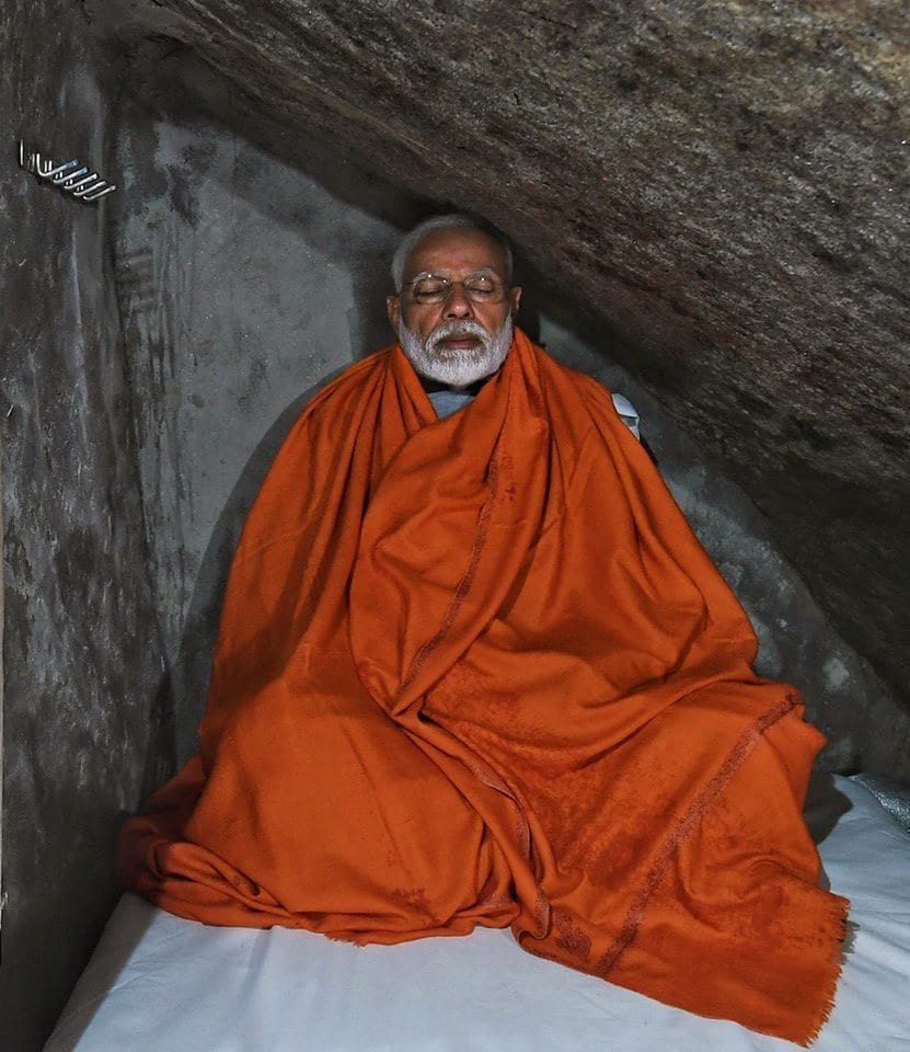 Kedarnath: Prime Minister Narendra Modi meditating in a holy cave near Kedarnath Temple, during his two-day pilgrimage to Himalayan shrines, in Rudraprayag district, Saturday, May 18, 2019. PM Modi will visit Badrinath on Sunday. (PTI Photo)(PTI5_18_2019_000145B)