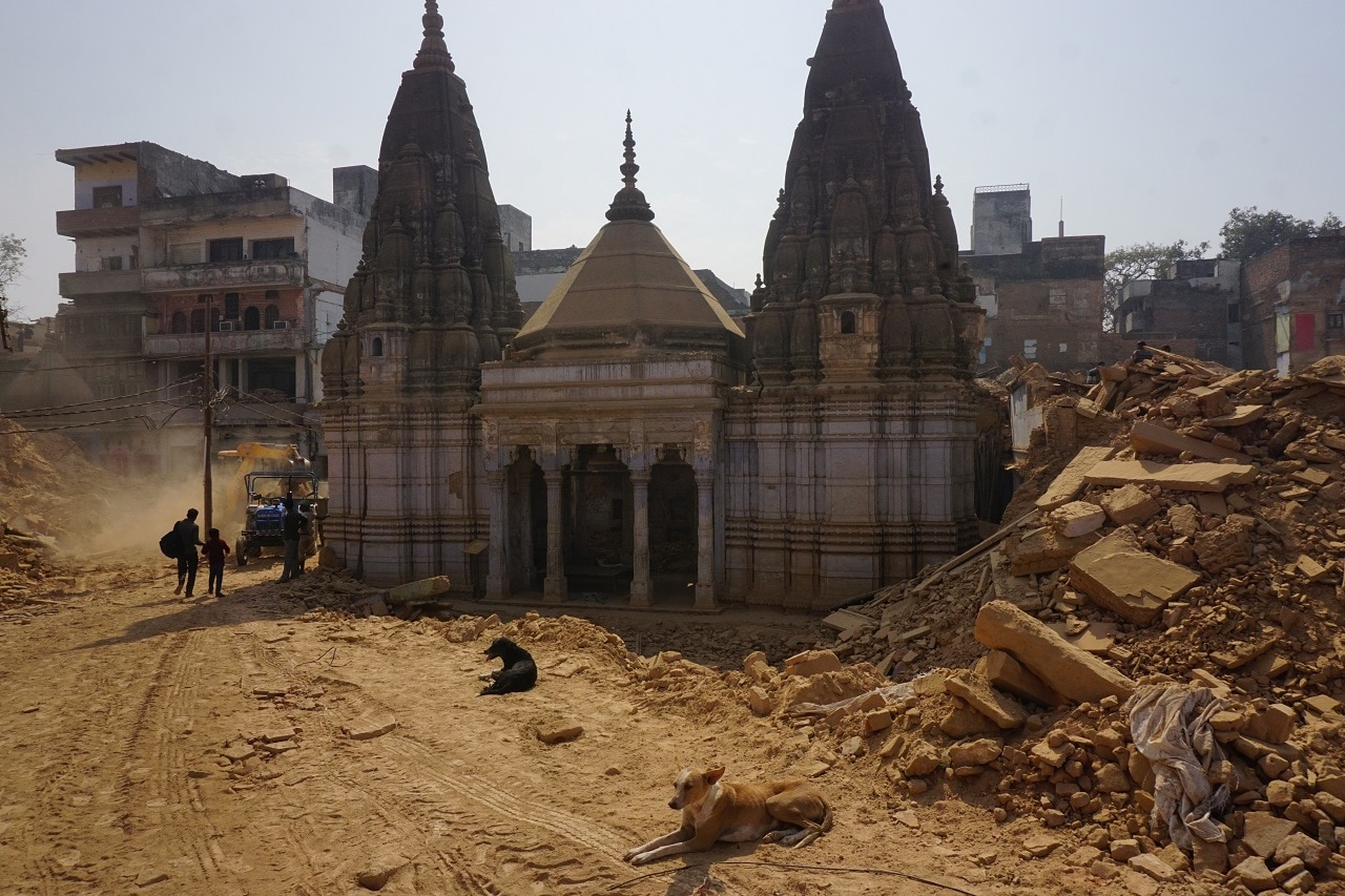 Demolished houses and temples near the Kashi Vishwanath Temple, Varanasi, Uttar Pradesh.