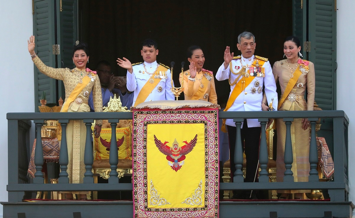 Thailand's royal family from left; Princess Sirivannavari Nariratana, daughter, Prince Dipangkorn Rasmijoti, son, Princess Bajrakitiyabha, daughter, King Maha Vajiralongkorn and Queen Suthida wave to an audience from the balcony of Suddhaisavarya Prasad Hall in the Grand Palace during the coronation ceremony in Bangkok, Thailand. Vajiralongkorn was officially crowned amid the splendour of the country's Grand Palace, taking the central role in an elaborate centuries-old royal ceremony that was last held almost seven decades ago. (AP Photo/Sakchai Lalit)
