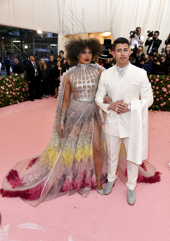 Priyanka Chopra Jonas left, and Nick Jonas attend The Metropolitan Museum of Art's Costume Institute benefit gala on Monday, May 6, 2019, in New York. (Photo by Charles Sykes/Invision/AP