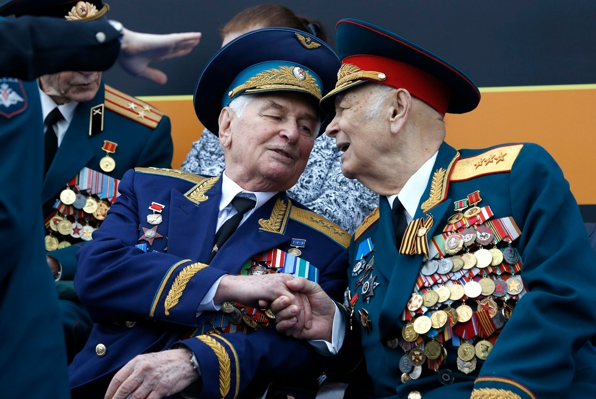 Russian WWII veterans wait for the Victory Day military parade to celebrate 74 years since the victory in WWII in Red Square in Moscow. (AP Photo/Alexander Zemlianichenko)