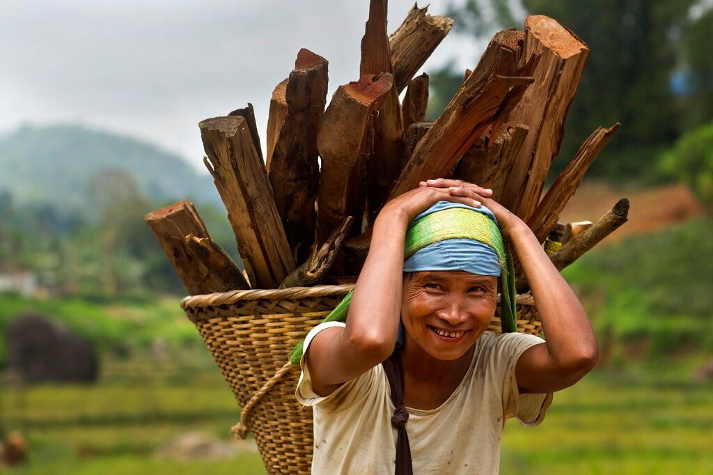 A Khasi tribal woman Lona Syngkli carries firewood in a basket swung around her head in Nongpoh, in Meghalaya state, India. Syngkli says she knows nothing about politics but cast her vote because her husband told her to. As women, these voters already face immense hurdles in a nation where women are often relegated to second-class roles. But they are also tribals, India's term for the vast range of indigenous people of South Asia. May 11, 2019. (AP Photo/Anupam Nath)