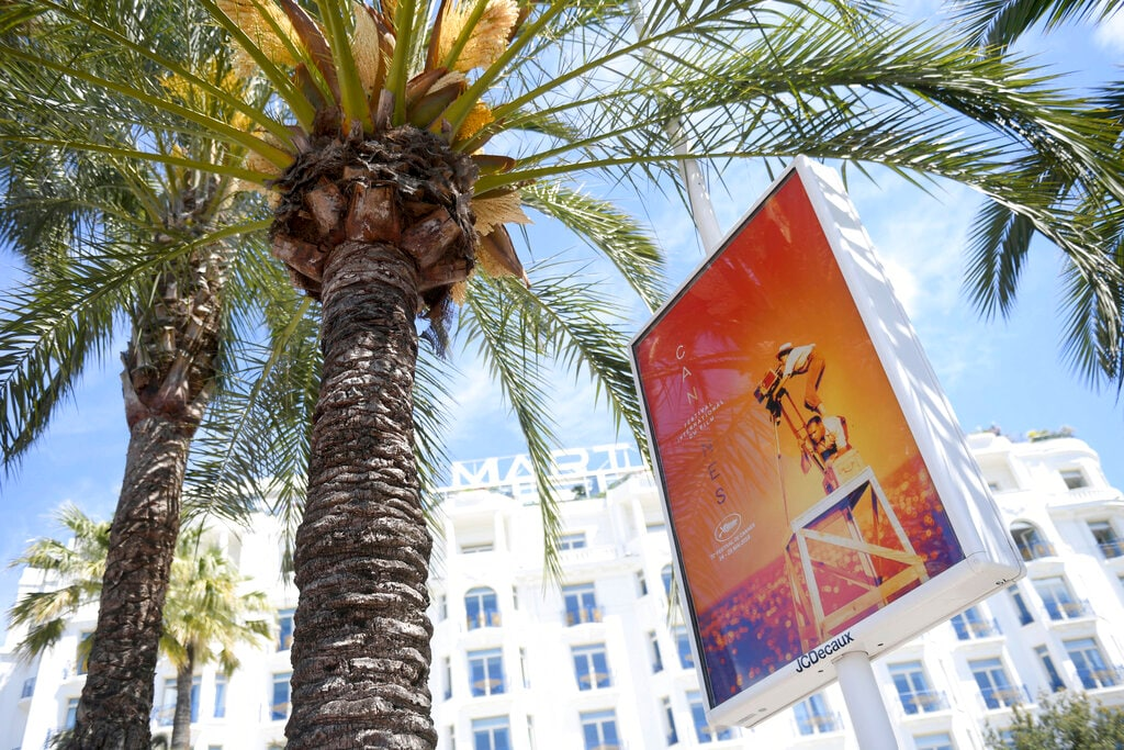 A view of the Hotel Martinez in Cannes during the 72nd international film festival, Cannes, southern France, Monday, May 13, 2019. The Cannes film festival runs from May 14th until May 25th, 2019. (Photo by Arthur Mola/Invision/AP)