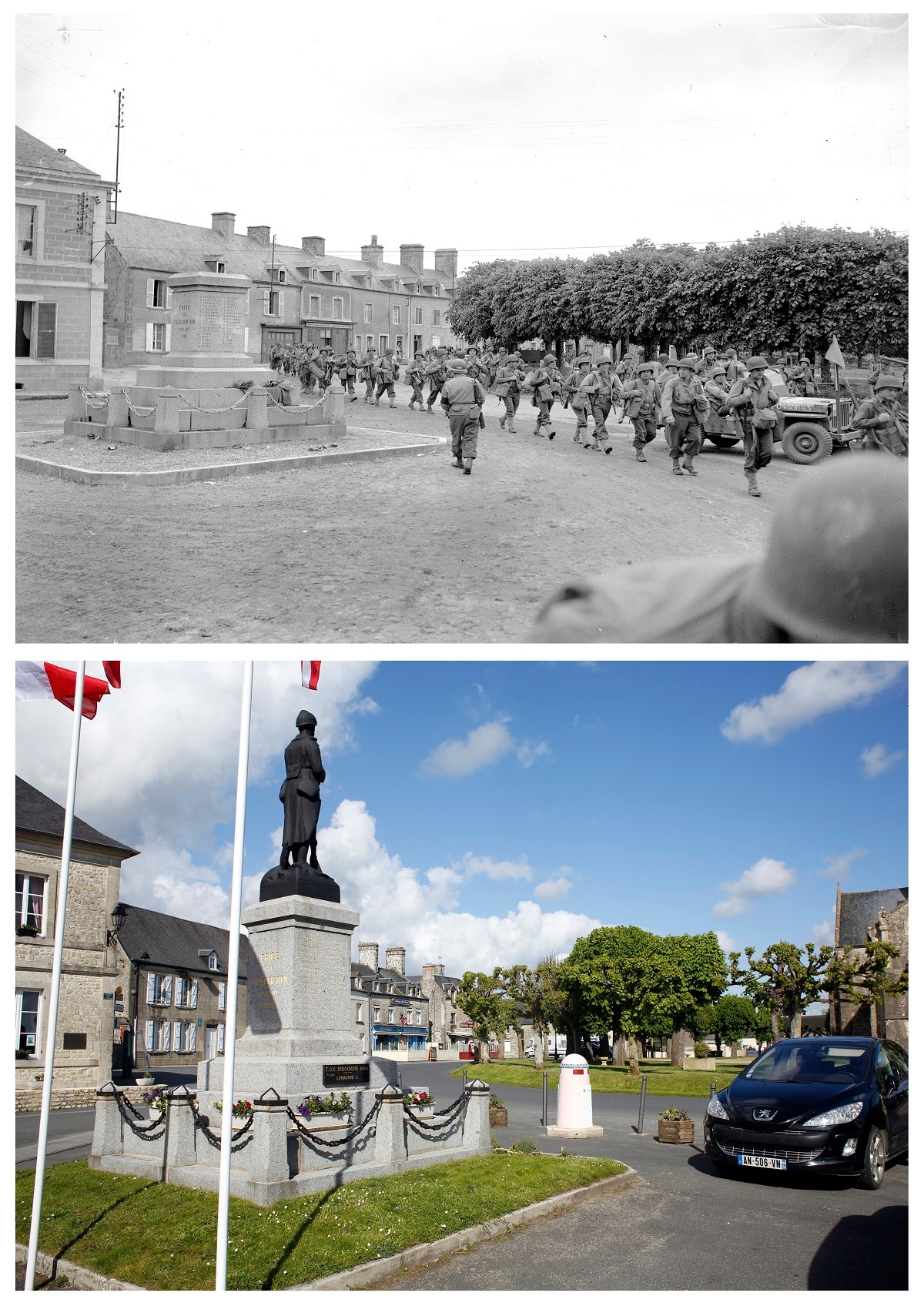 This combination of photos shows US troops passing through the town of Sainte-Marie-du-Mont as they push forward in France, June 1944, top, and below, a view of the same location on May 9, 2019. (AP Photo/Peter J Carroll, Thibault Camus)