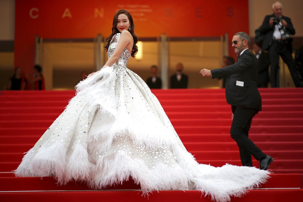 Singer Jessica Jung poses for photographers upon arrival at the opening ceremony and the premiere of the film 'The Dead Don't Die' at the 72nd international film festival, Cannes, southern France, Tuesday, May 14, 2019. (AP Photo/Petros Giannakouris)