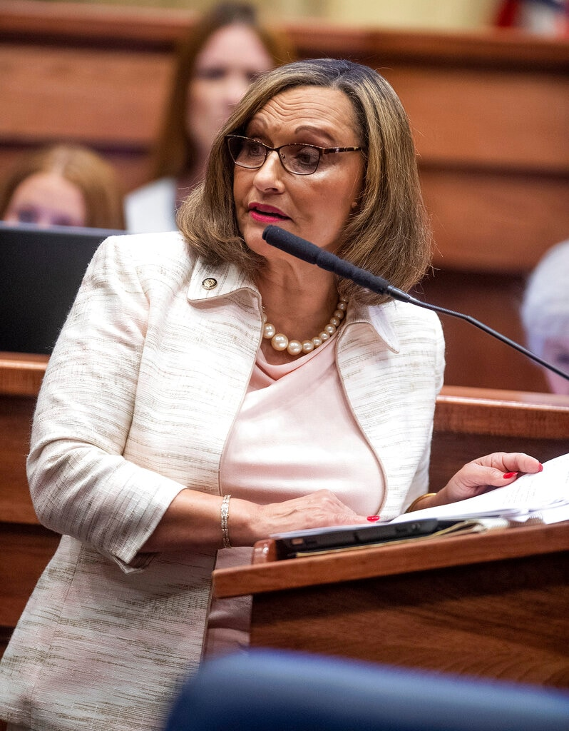 Sen. Vivian Figures speaks as the debate on HB314, the near-total ban on the abortion bill, is held in the Senate chamber in the Alabama Statehouse in Montgomery, Ala., Tuesday, May 14, 2019. (Mickey Welsh/The Montgomery Advertiser via AP)