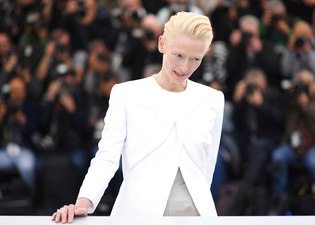 Actress Tilda Swinton poses for photographers at the photo call for the film 'The Dead Don't Die' at the 72nd international film festival, Cannes, southern France, Wednesday, May 15, 2019. (Photo by Arthur Mola/Invision/AP)