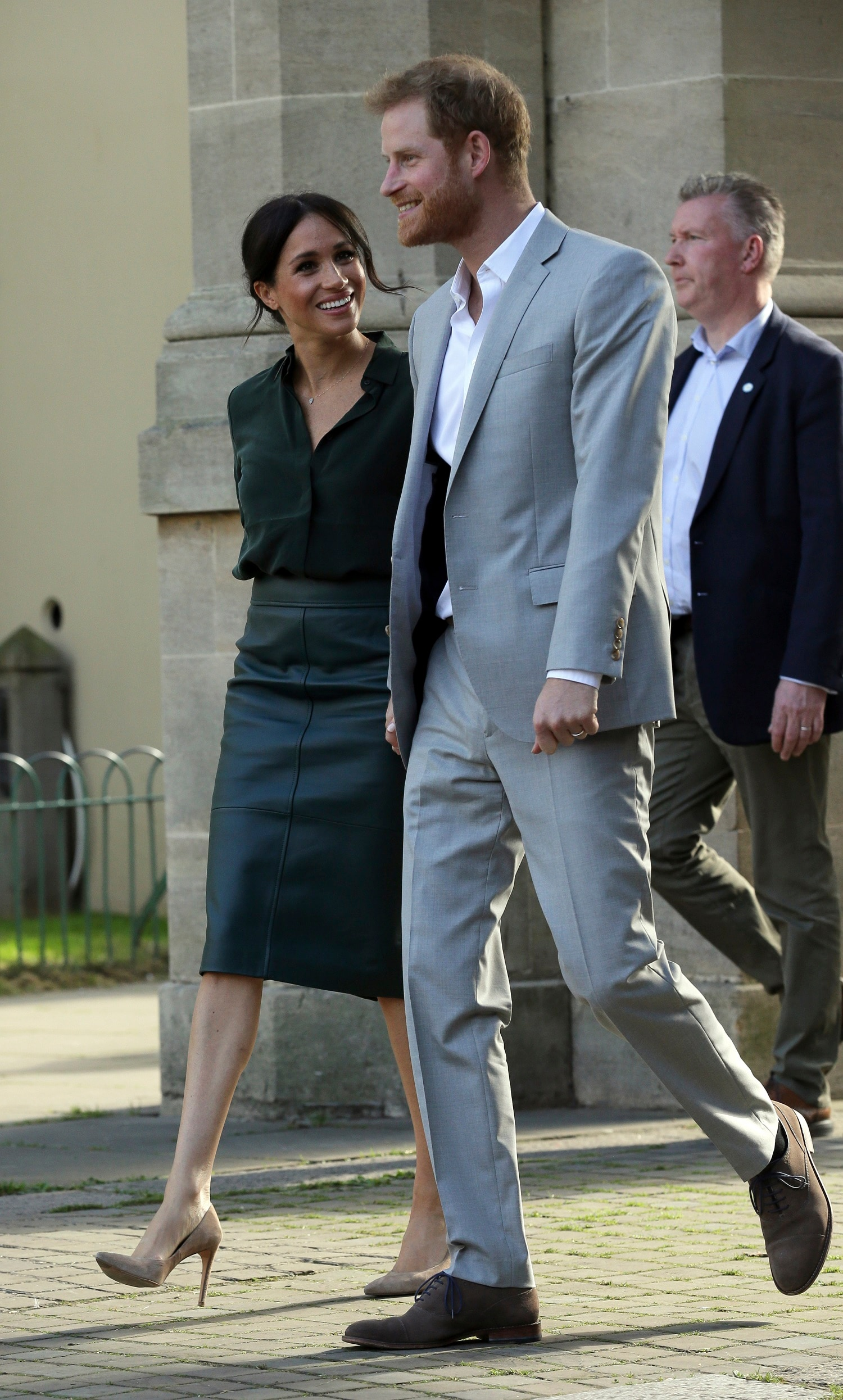 FILE - In this Wednesday, Oct. 3, 2018 file photo, Britain's Prince Harry, right, and Meghan, Duchess of Sussex visit the Pavilion Building in Brighton, England. Sunday, May 19, 2019 marks the first wedding anniversary of the besotted couple. (AP Photo/Tim Ireland, Pool, File)
