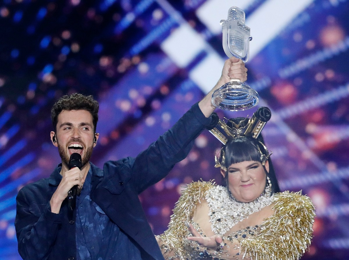 Duncan Laurence of the Netherlands celebrates with the trophy after winning the 2019 Eurovision Song Contest grand final with the song