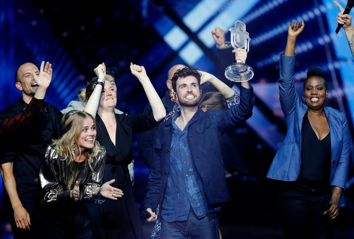 Duncan Laurence of the Netherlands celebrates after winning the 2019 Eurovision Song Contest grand final in Tel Aviv. (AP Photo/Sebastian Scheiner)