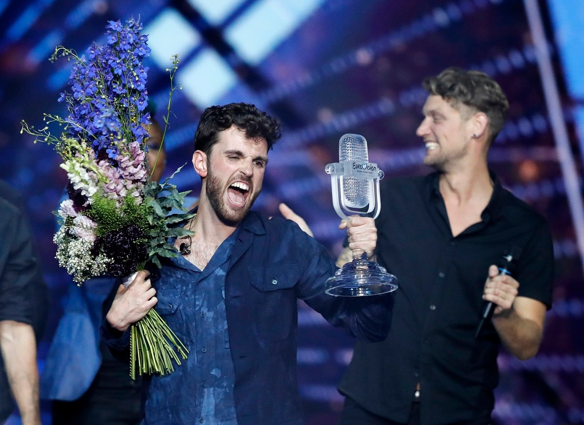 Duncan Laurence of the Netherlands celebrates after winning the 2019 Eurovision Song Contest grand final. (AP Photo/Sebastian Scheiner)