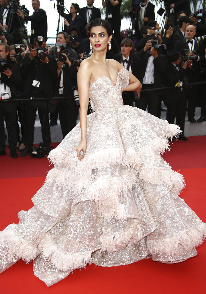 Model Diana Penty poses for photographers upon arrival at the premiere of the film 'A Hidden Life' at the 72nd international film festival, Cannes, southern France, Sunday, May 19, 2019. (Photo by Joel C Ryan/Invision/AP)