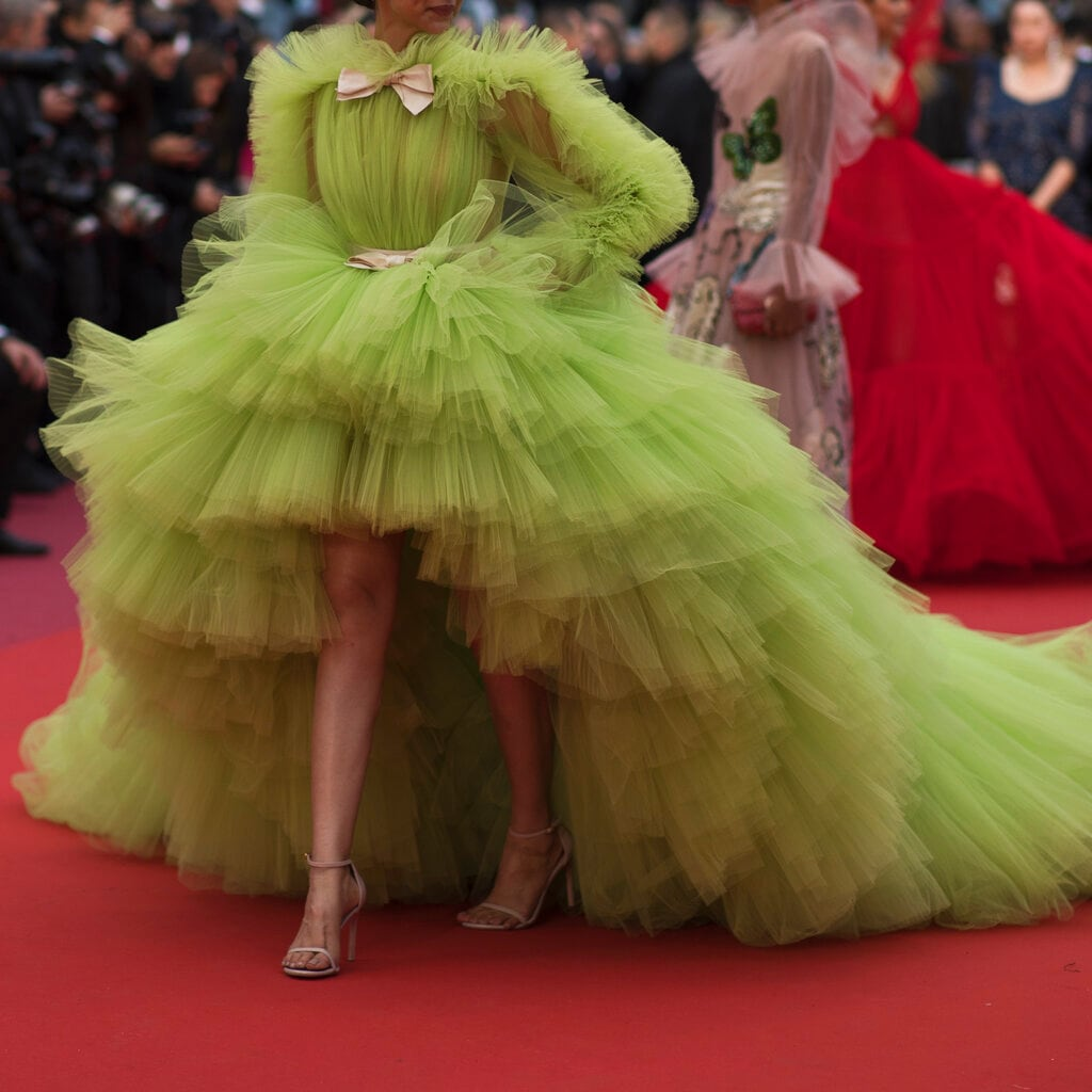 Actress Deepika Padukone walks along the red carpet upon her arrival for the premiere of the film 'Pain and Glory' at the 72nd international film festival, Cannes, southern France. (AP Photo/Petros Giannakouris)