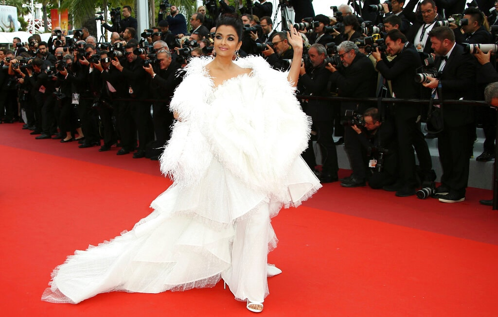 Aishwarya Rai Bachchan poses for photographers upon arrival at the premiere of the film 'La Belle Epoque' at the 72nd international film festival, Cannes, southern France, Monday, May 20, 2019. (Photo by Joel C Ryan/Invision/AP)
